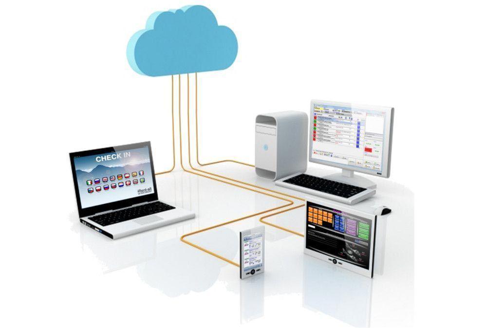 Immagine che rappresenta diversi dispositivi tutti collegati con il sistema RENT-ALL grazie al cloud