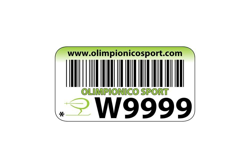 Example of barcode label used by RENT-ALL rental management software