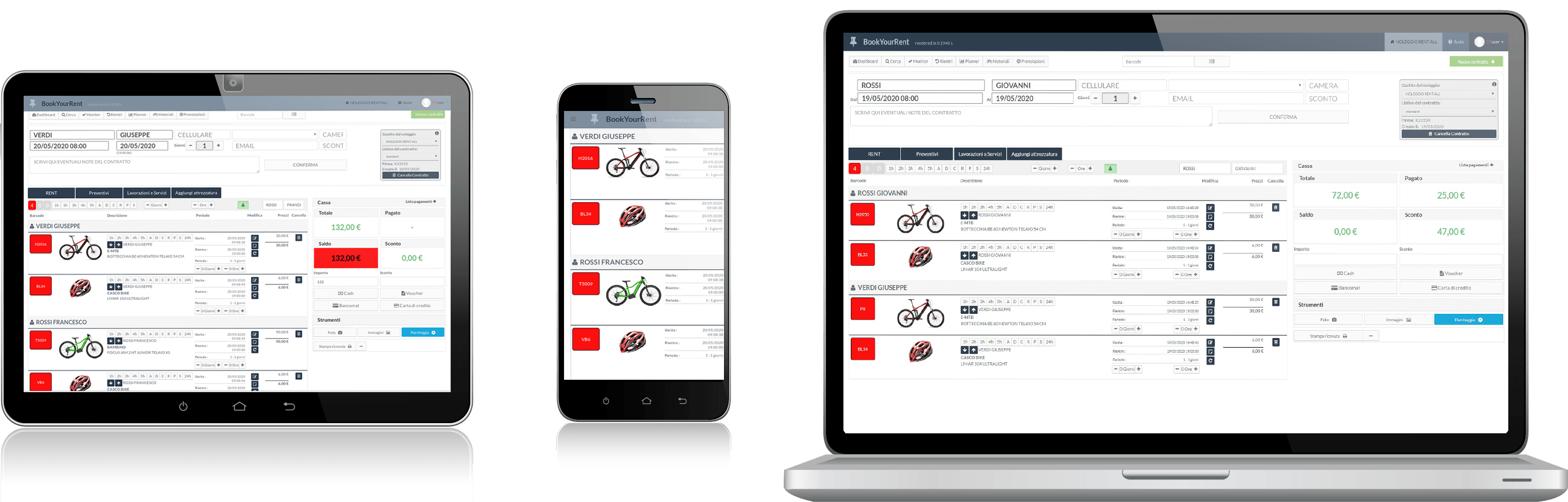 Several devices with RENT-ALL ski and bike rental management software on the screen