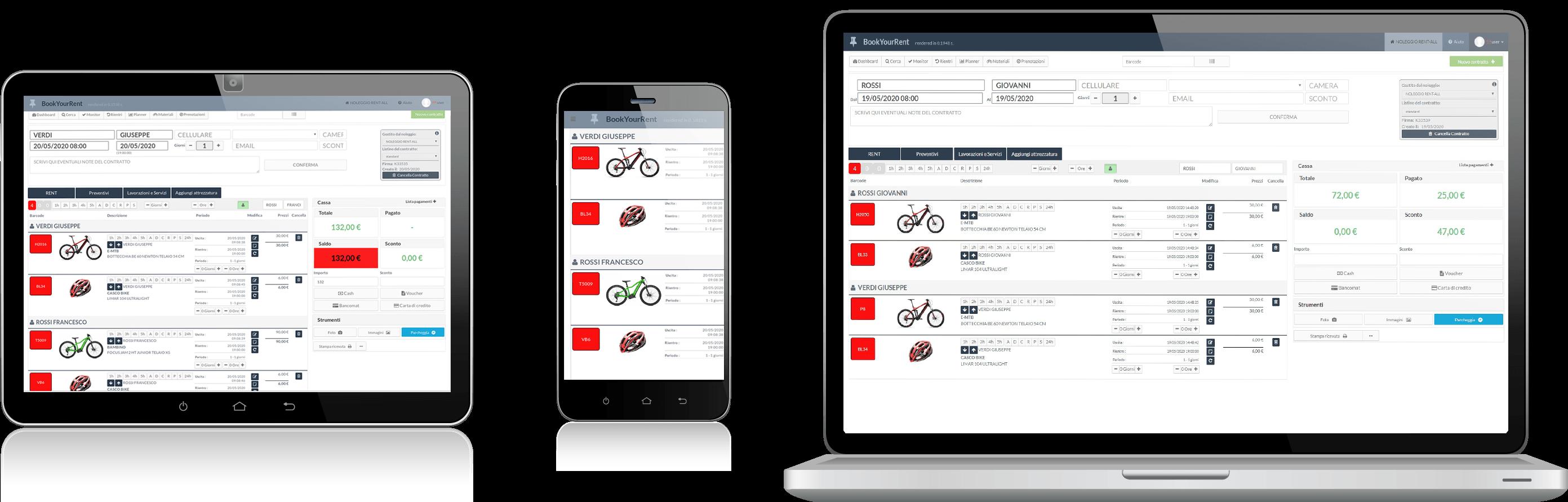 Diversi dispositivi che hanno sullo schermo il software gestionale per noleggi di sci e bici RENT-ALL