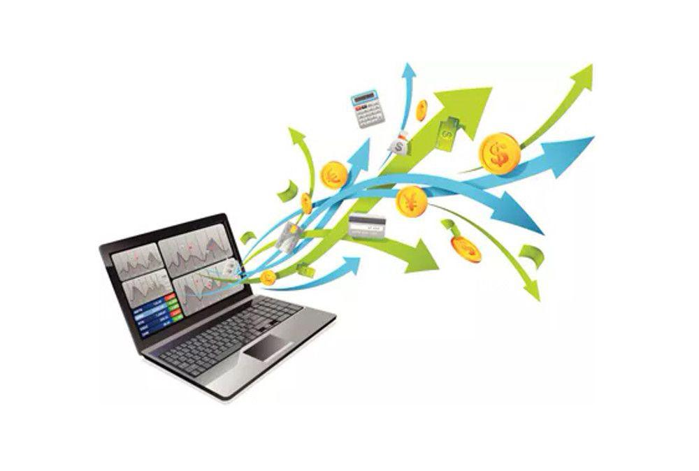 Laptop mit Pfeilen, die aus dem Bildschirm herauskommen