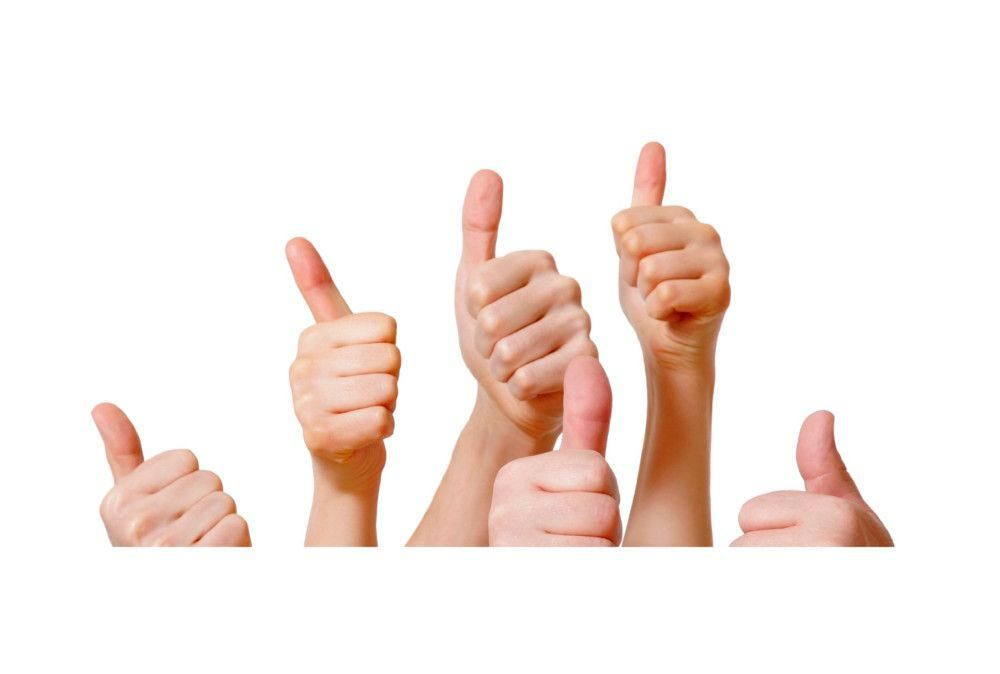Hands with thumbs up as a sign of approval