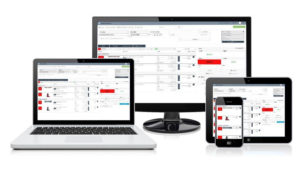 RENT-ALL ski rental management software screen on different devices