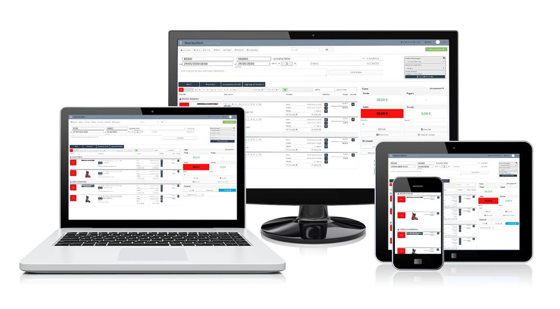 Schermata del software di gestione noleggi sci RENT-ALL su diversi dispositivi